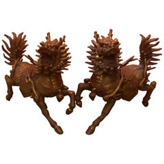 Impressive Pair of Patinated Bronze Chinese Foo Dogs / Lions Statues or Bookends
