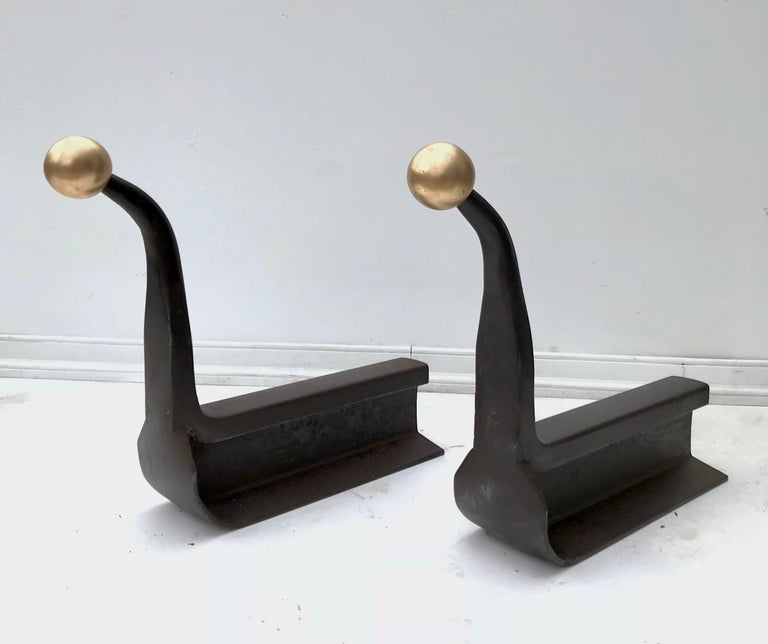 American Impressive Pair of Railroad Track Andirons For Sale