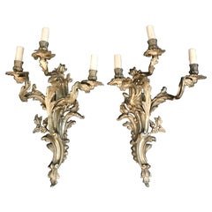 Impressive Pair of Significant French Louis XV Gold Gilt Bronze Sconces