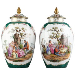 Impressive Pair of Vases with Covers Attributed to Samson & Cie