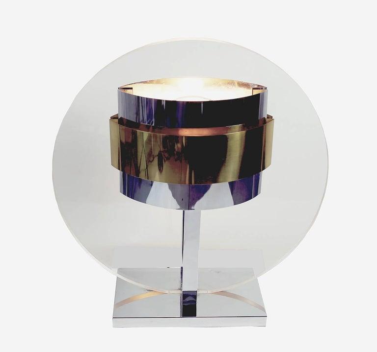 Mid-Century Modern Impressive Pierre Cardin, 1970s Lucite, Brass, Chrome Lamp For Sale
