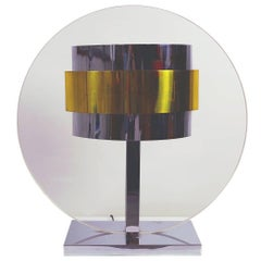 Impressive Pierre Cardin, 1970s Lucite, Brass, Chrome Lamp