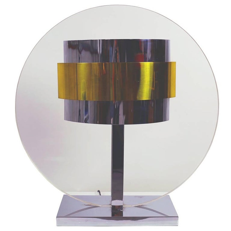 Pierre Cardin Lucite, brass and chrome lamp, 1970s, offered by Lost and Found Furnishings