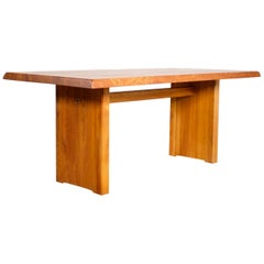 Impressive Pierre Chapo T14c Dining Table in Solid Elmwood, France, 1960s