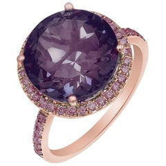 Impressive Pink Sapphire Amethyst Pink Gold Ring