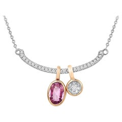 Impressive Pink Sapphire Diamond White Gold Necklace