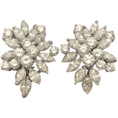 Impressive Platinum Diamond Cluster Earrings