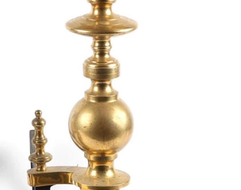 1800s Pr. Brass Steeple Finial Andirons- Lion Heads-Provenance In Good Condition For Sale In West Palm Beach, FL