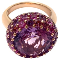 Impressive Pure 8ct Amethyst Pink Sapphire Tourmaline Yellow 18 Karat Gold Ring