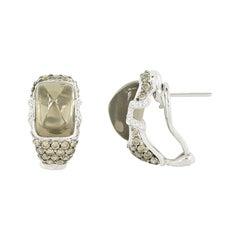 Impressive Quartz Diamond White Gold 18 Karat Earrings