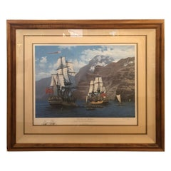 Impressive Raymond Massey Large Signed Nautical Lithograph