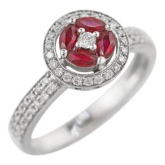 Impressive Red Ruby White Diamond White Gold Every Day Ring