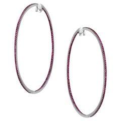 Impressive Red Ruby White Gold Hoop Earrings