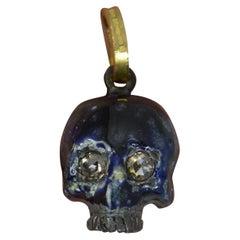 Impressive Rose Cut Diamond Blue Enamel 9ct Gold Skull Pendant Charm