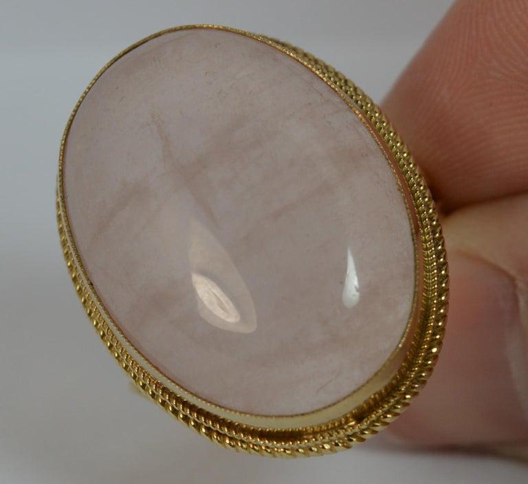 Impressive Rose Quartz Solitaire 9 Carat Gold Statement Ring For Sale 5