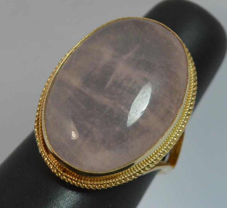 Impressive Rose Quartz Solitaire 9 Carat Gold Statement Ring For Sale 6