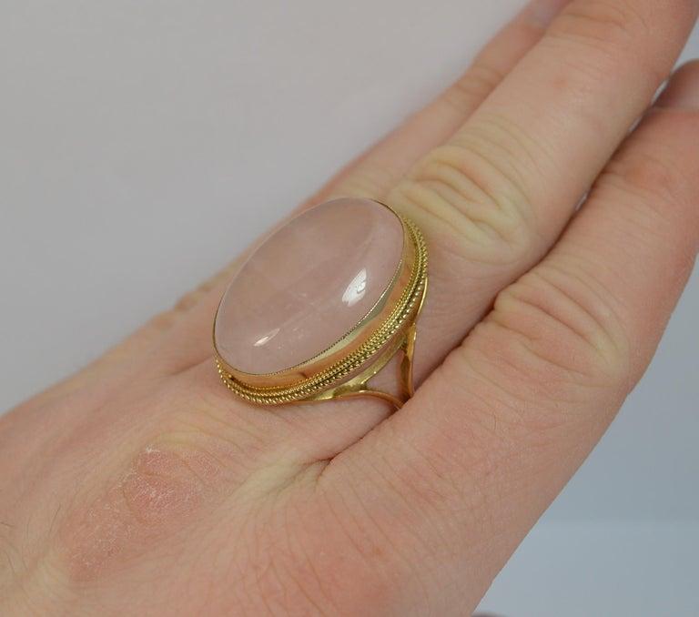 Contemporary Impressive Rose Quartz Solitaire 9 Carat Gold Statement Ring For Sale