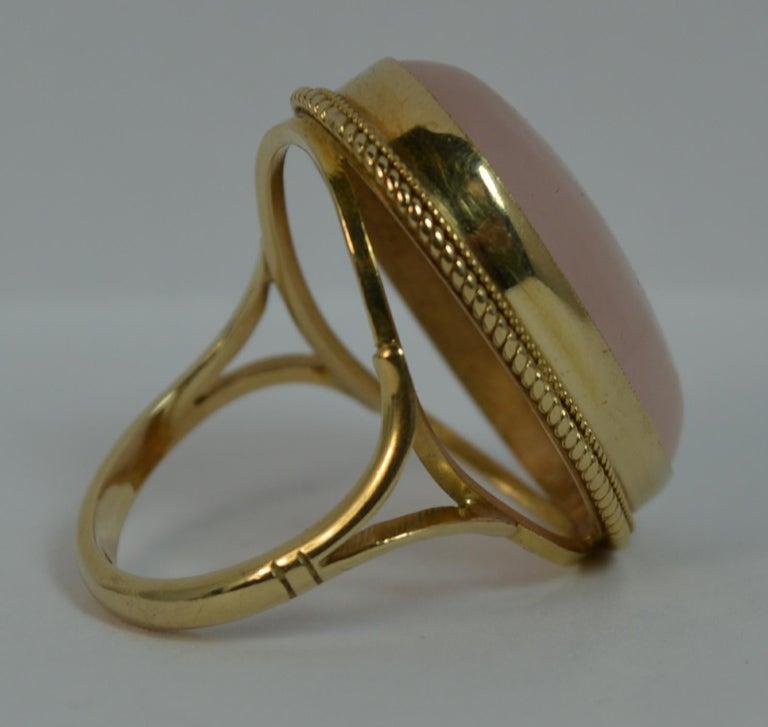 Impressive Rose Quartz Solitaire 9 Carat Gold Statement Ring For Sale 2