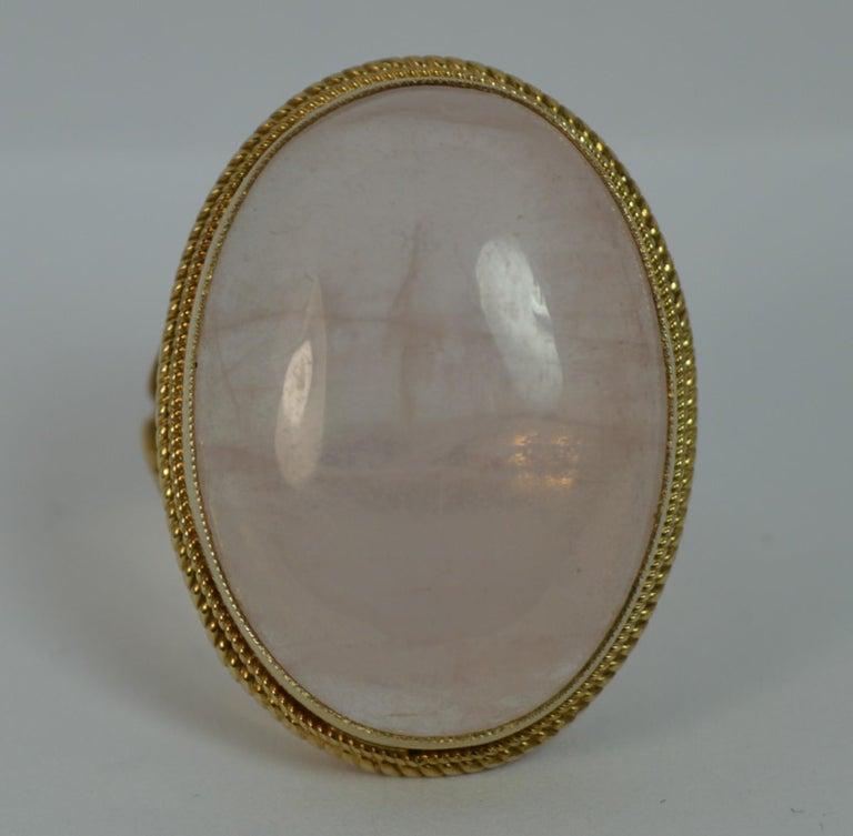 Impressive Rose Quartz Solitaire 9 Carat Gold Statement Ring For Sale 3