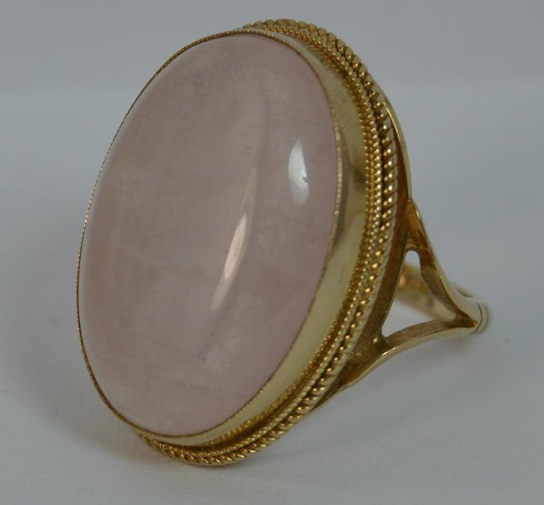 Impressive Rose Quartz Solitaire 9 Carat Gold Statement Ring For Sale 4