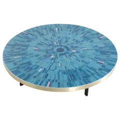 Impressive Round Mosaic Tile Coffee Table by Berthold Müller, 1960s