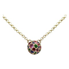 Impressive Ruby Pink Sapphire Diamond Tsavorite Yellow Gold Necklace