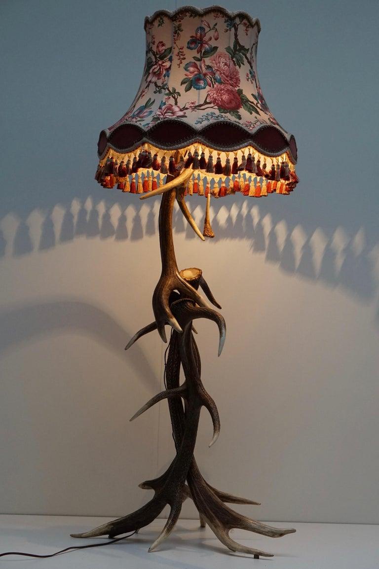Hollywood Regency Impressive Rustic Deer Antler Floor Lamp, 1950s, Austria For Sale
