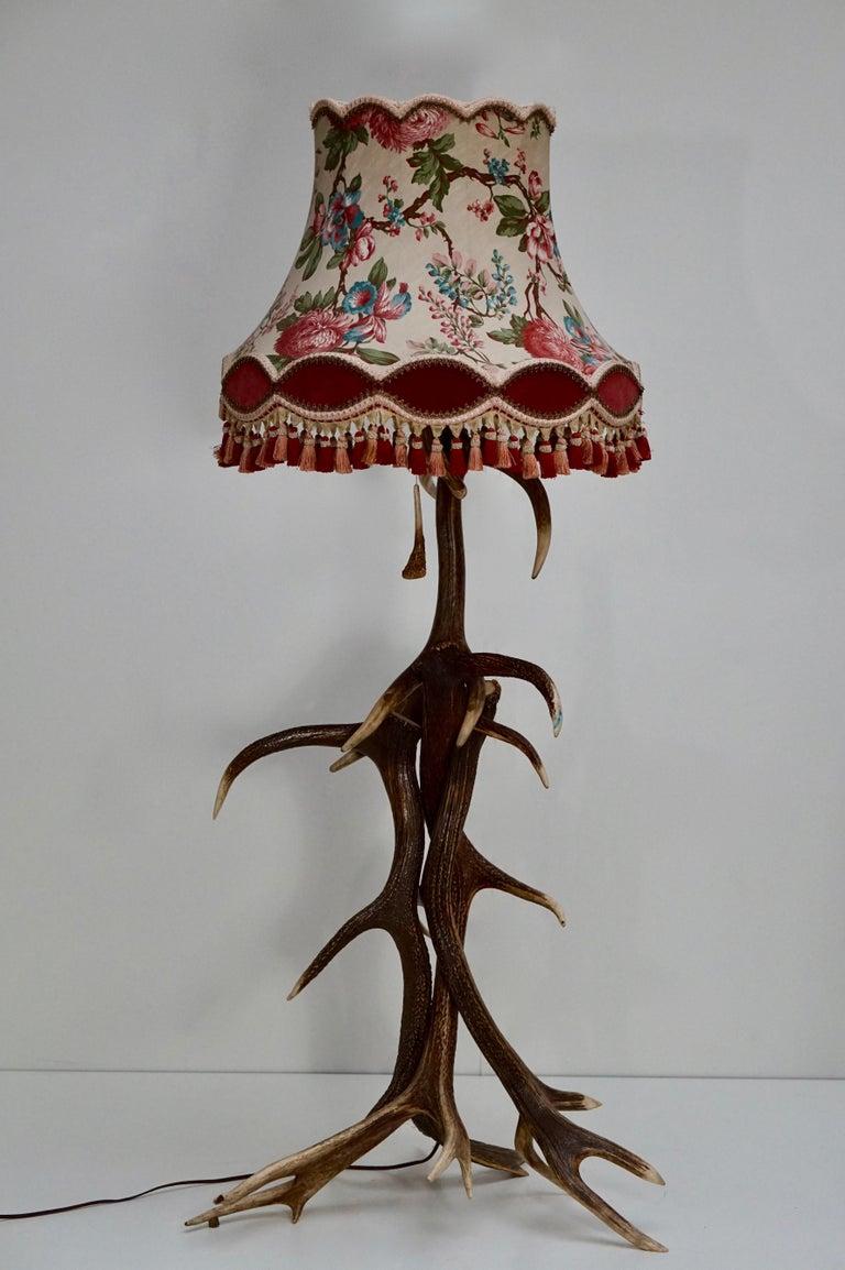Impressive Rustic Deer Antler Floor Lamp, 1950s, Austria In Good Condition For Sale In Antwerp, BE
