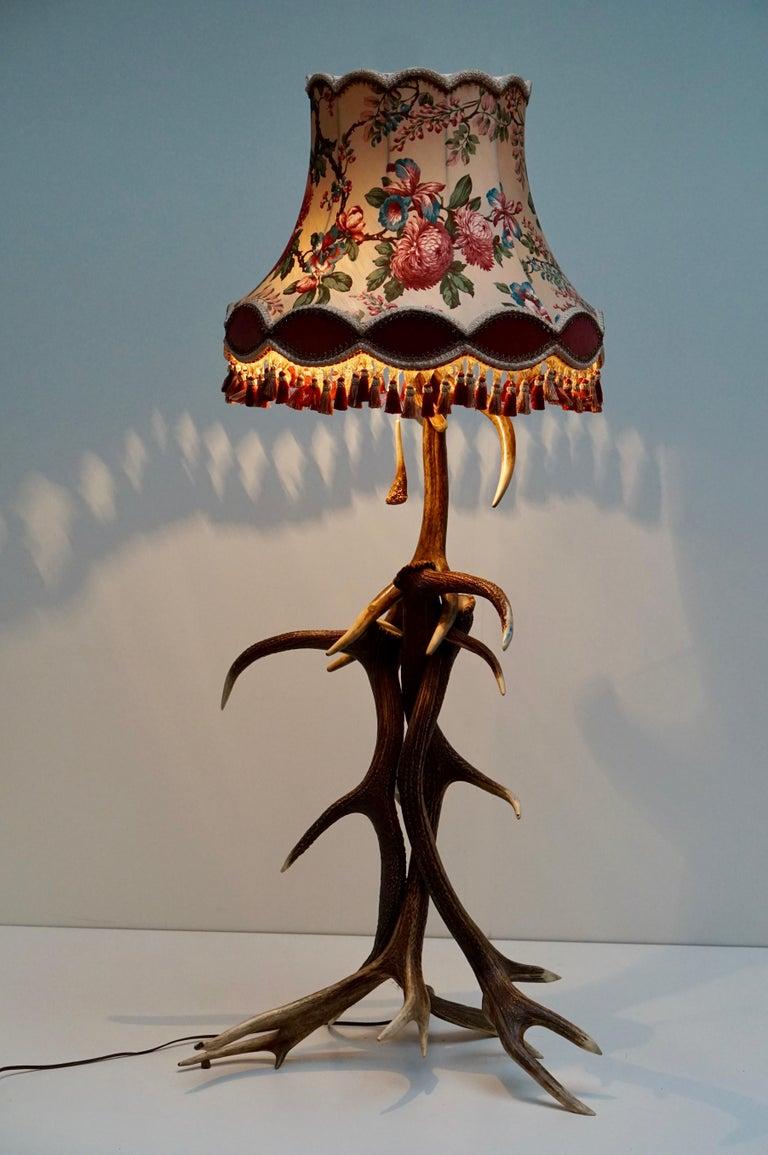 20th Century Impressive Rustic Deer Antler Floor Lamp, 1950s, Austria For Sale