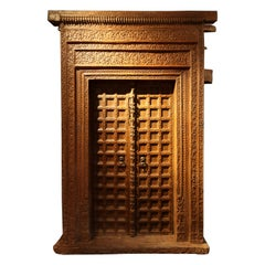 Impressive Set of Carved Indian Doors with Thick Surround