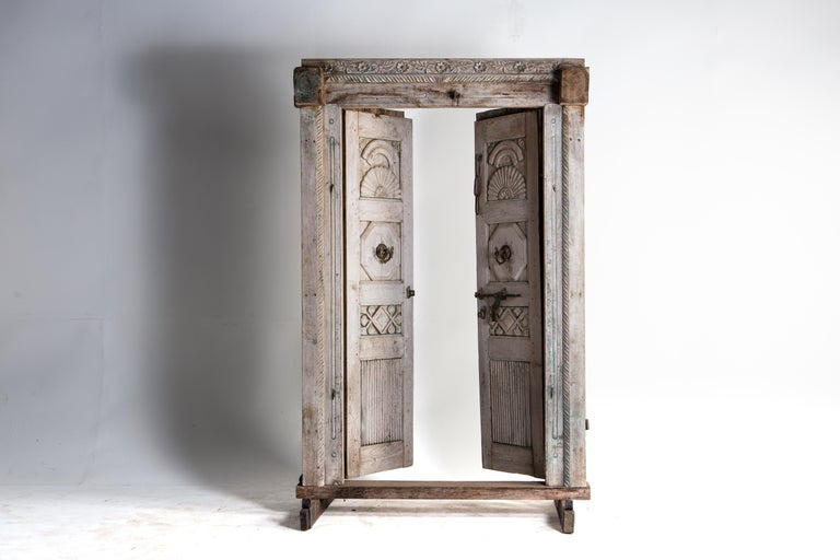 Impressive Set of Indian Doors with Surround In Good Condition For Sale In Chicago, IL
