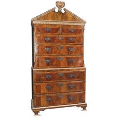 Impressive Sized English Burl Walnut Chest on Chest Dating to 1840 Standing