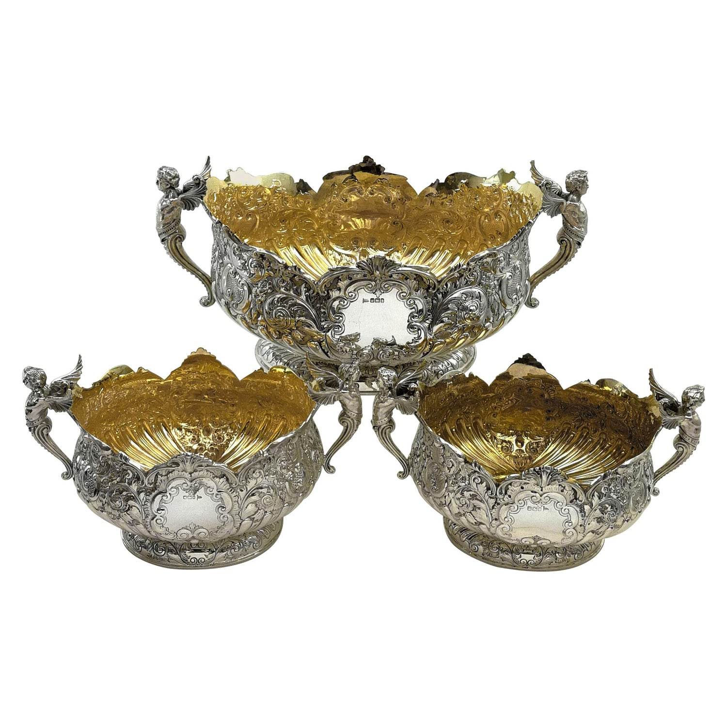 Impressive Suite of 3 Antique Victorian Silver Dishes / Set of Bowls 1895-1898