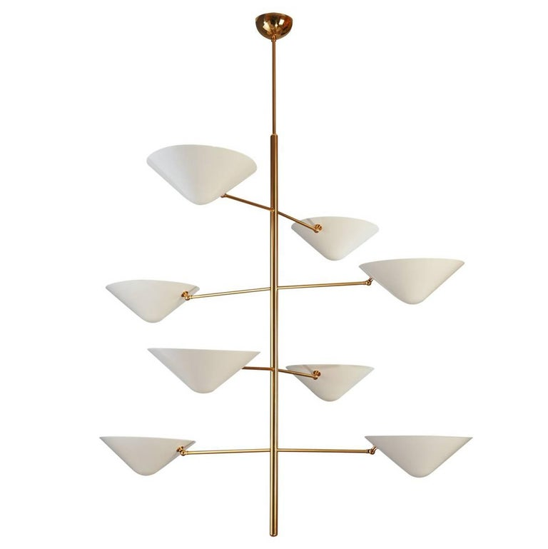 Impressive Tall Polished Brass and Enameled Metal Chandelier For Sale