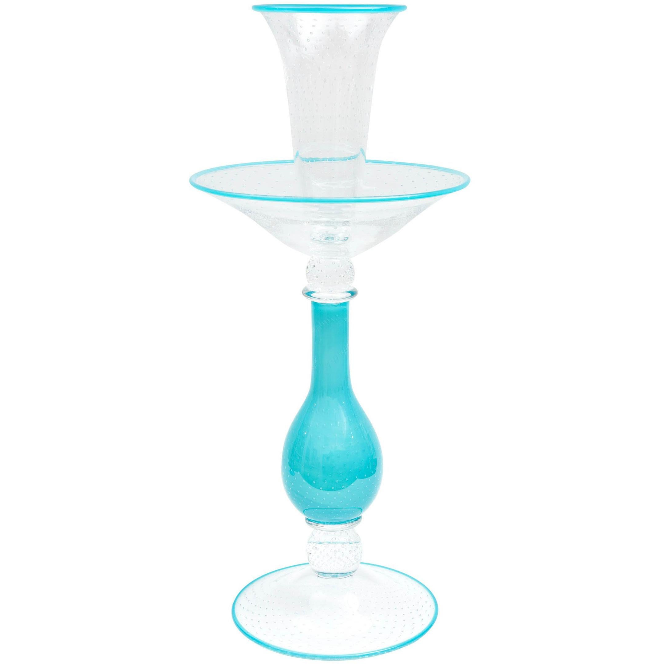 Impressive Tall Tiffany Blue Turquoise Glass Centrepiece Epergne, Custom Color
