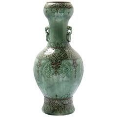 Impressive Théodore Deck Oriental Design Enameled Faience Vase, circa 1875
