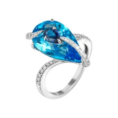 Impressive Topaz Blue Sapphire Diamond White Gold Ring