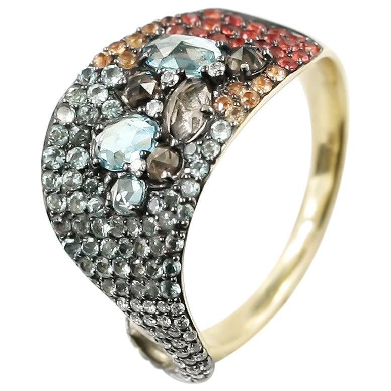 Impressive Topaz Yellow Sapphire Quartz Diamond Yellow Gold Ring