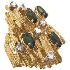 Impressive Tourmaline and Diamond Cocktail Ring, by Tishman and Lipp, circa 1970