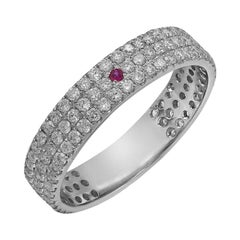 Impressive Ultra Classic Diamond Ruby White Gold Ring