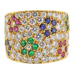 Impressive Van Cleef & Arpels Diamond Ruby Sapphire Emerald Flower Gold Ring