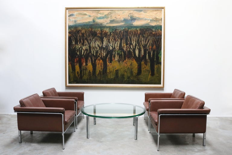 Impressive very large painting 210 cm x 170 cm by famous belgium painter Marcel Notebaert made in 1950.