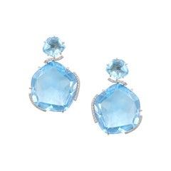 Impressive White Diamond Blue Topaz-Fantasy 18 Karat Gold Drop Earrings