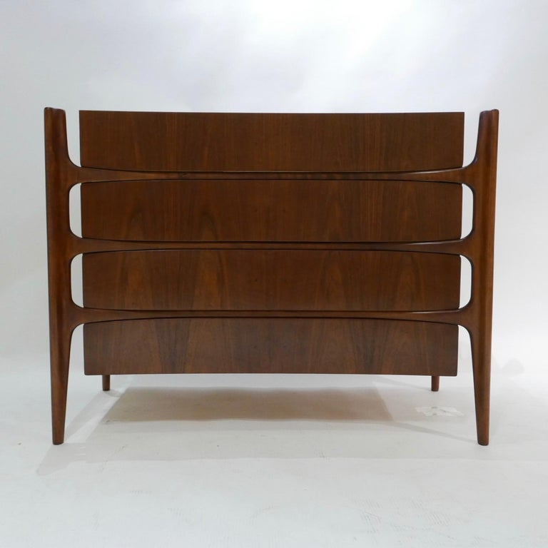 Carved Impressive William Hinn Swedish Book-matched Gentlemen's Chest with Top Cabinet For Sale
