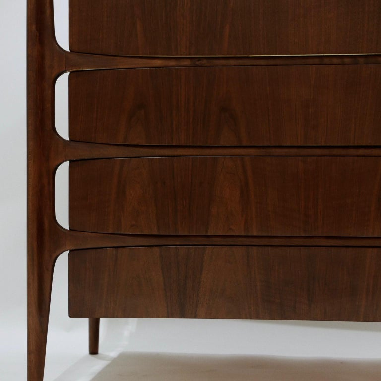 20th Century Impressive William Hinn Swedish Book-matched Gentlemen's Chest with Top Cabinet For Sale
