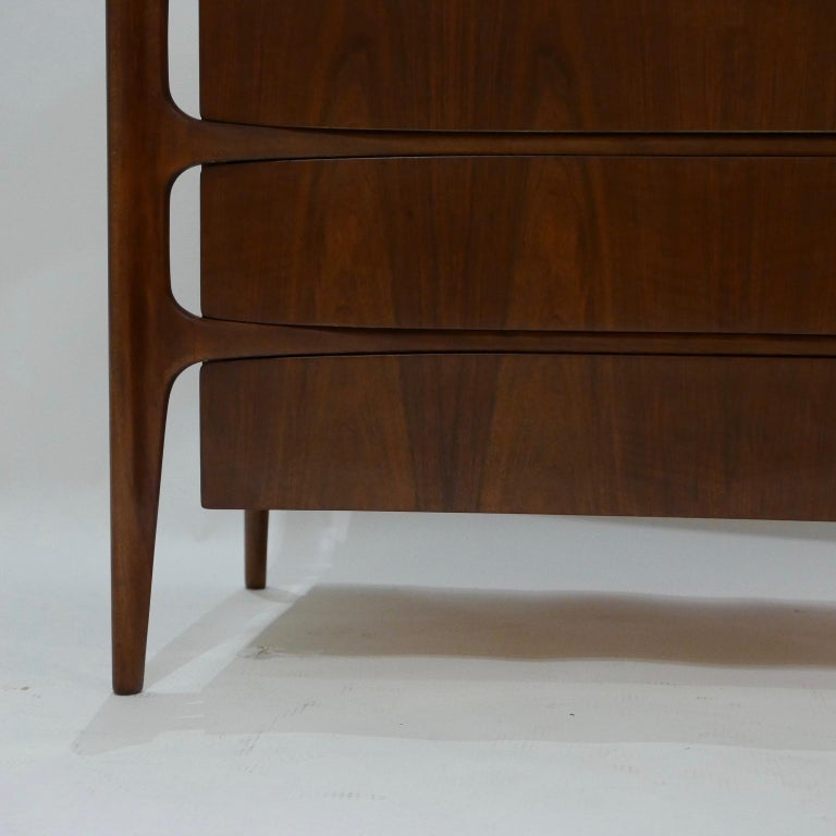 Walnut Impressive William Hinn Swedish Book-matched Gentlemen's Chest with Top Cabinet For Sale