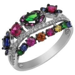 Impressive Yellow Blue Sapphire Ruby Tsavorite Diamond White Gold Ring