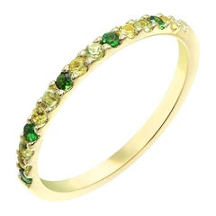 Impressive Yellow Sapphire Tsavorite Chrysolite Diamond Yellow Gold Ring