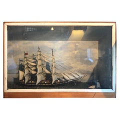 Impressively Large Antique Diorama or Shadow Box of Sailing Vessel