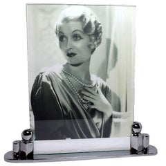 Impressively Large Art Deco Chrome Picture Frame, circa 1930